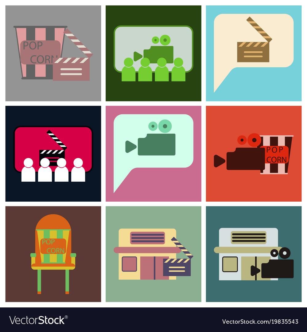 Flat icons set cinema