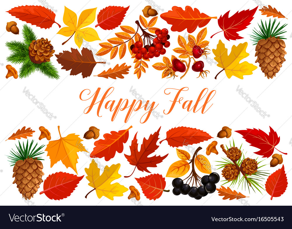 Happy fall banner with autumn leaf border vector image