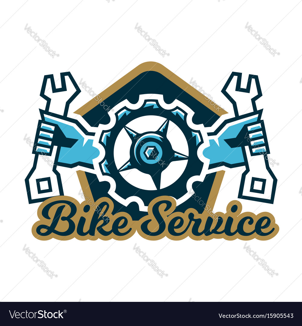 Logo bike service a bicycle sprocket and hand vector image