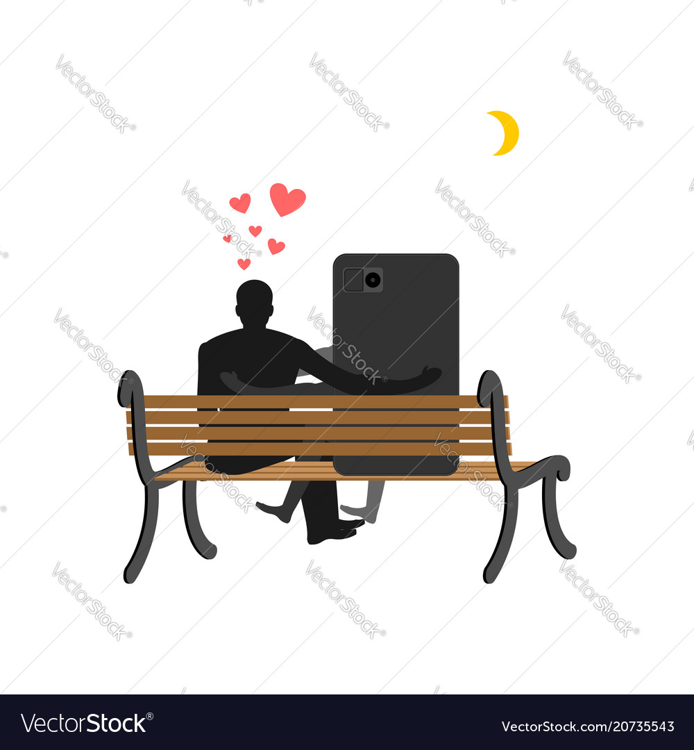 Lover of gadgets man and smartphone sitting on