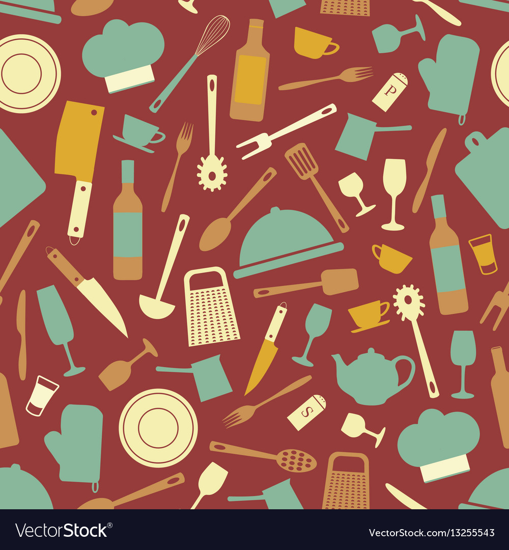 Seamless pattern with kitchen items