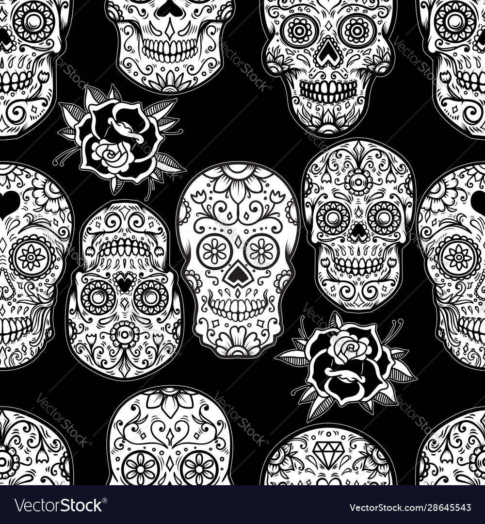 Seamless pattern with mexican sugar skulls and