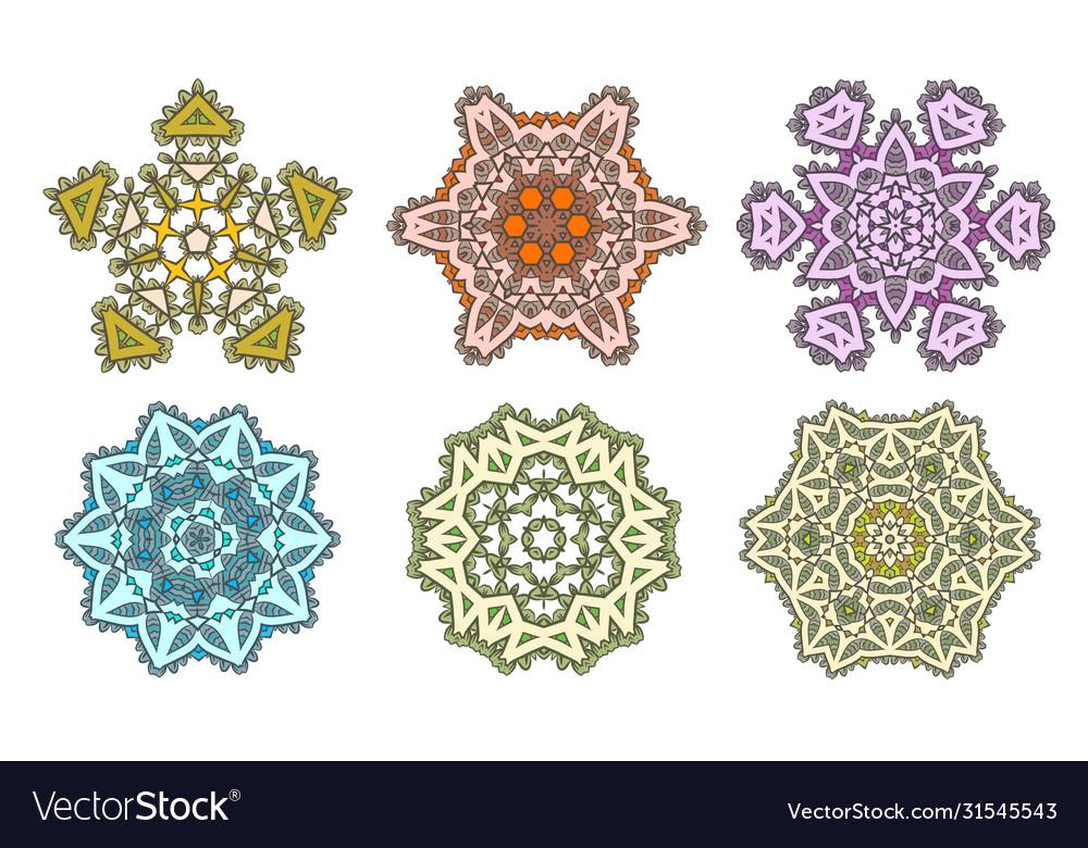 Set ethnic fractal mandala meditation looks