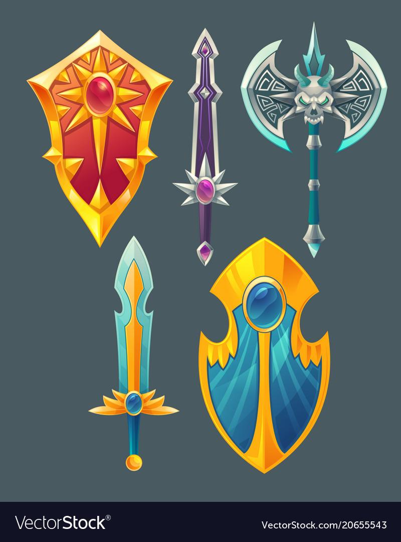 Swords shields axe for fantasy game