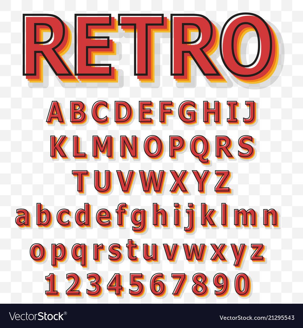 Vintage alphabet font old style typeface