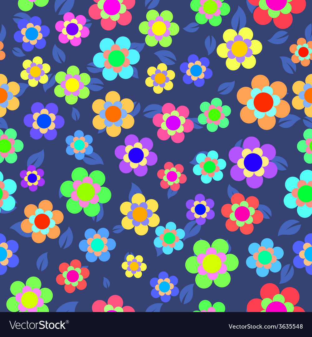 Abstract Colorful Floral Seamless Pattern