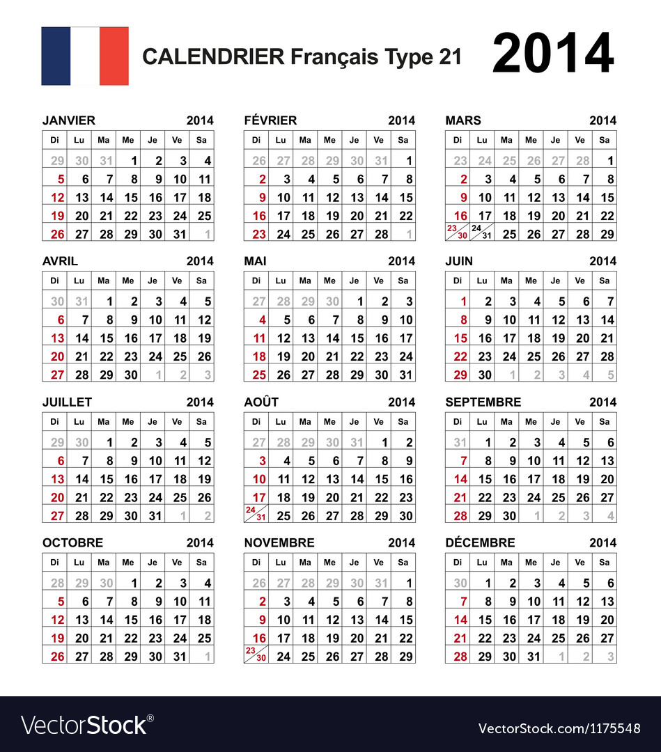 Calendar 2014 French Type 21