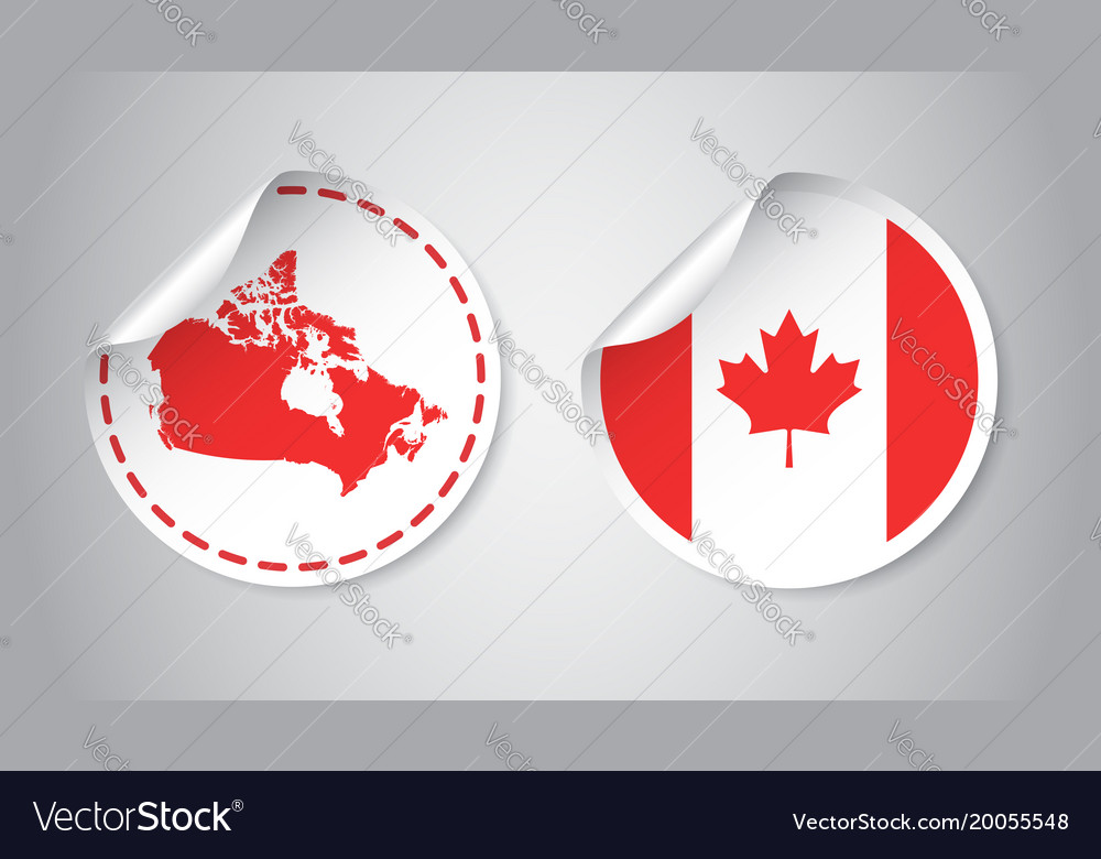 Canada sticker with flag and map label round tag