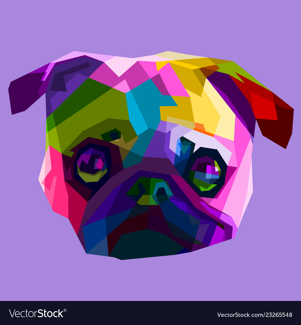Colorful pug head dog