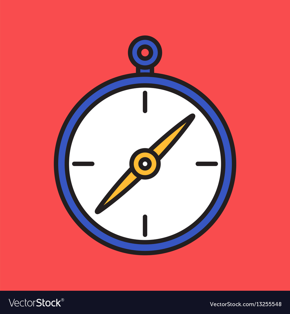 Compass simple flat colorful icon black outline