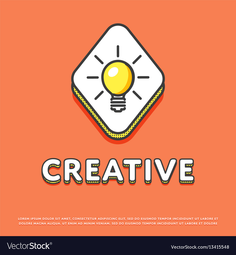 Creative colour icon with light bulb
