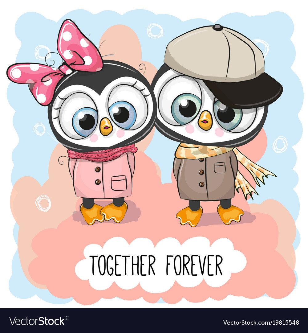 Cute Cartoon Penguins Boy And Girl Royalty Free Vector Image