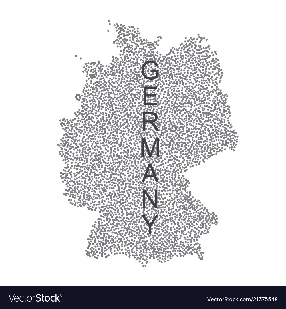 Dotted map of germany on white background
