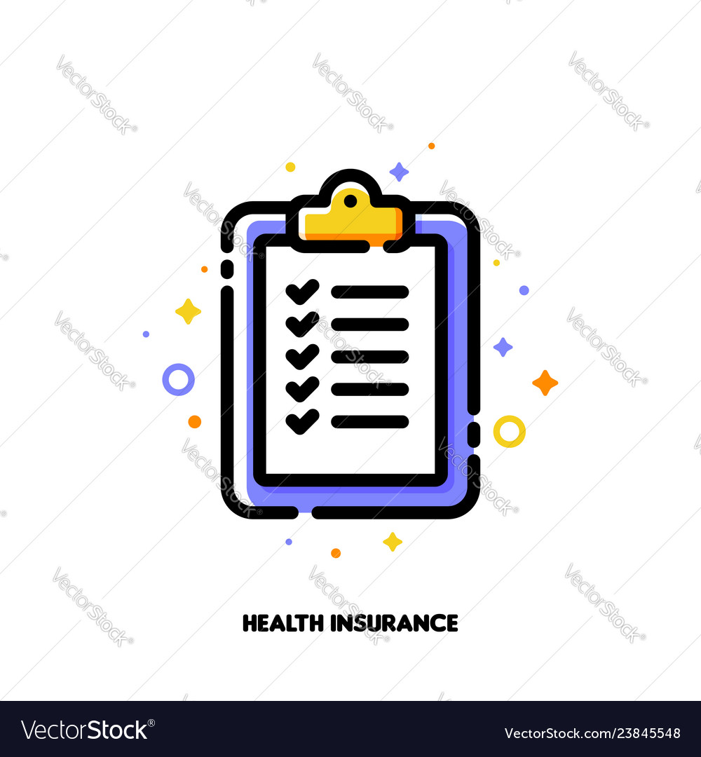 Health insurance clipboard with checkmarks icon