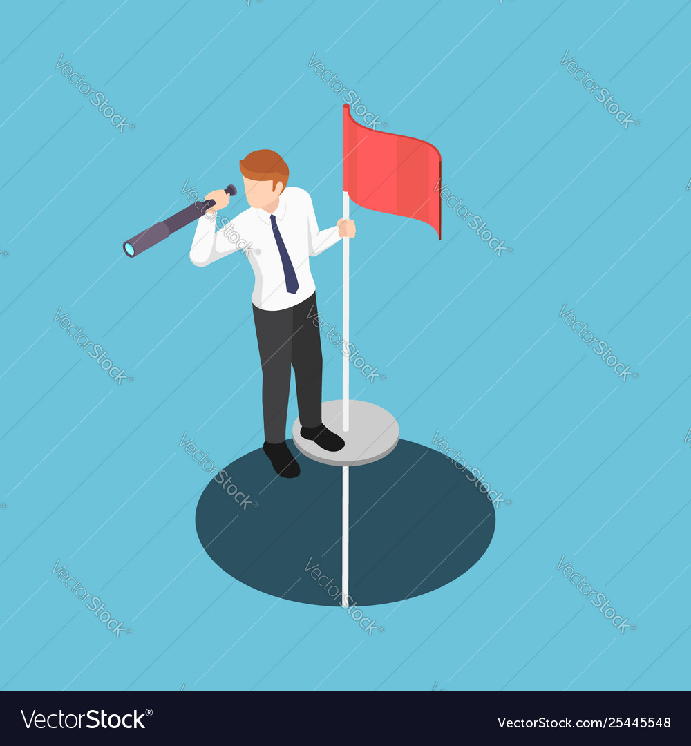 Isometric businessman standing on pole with