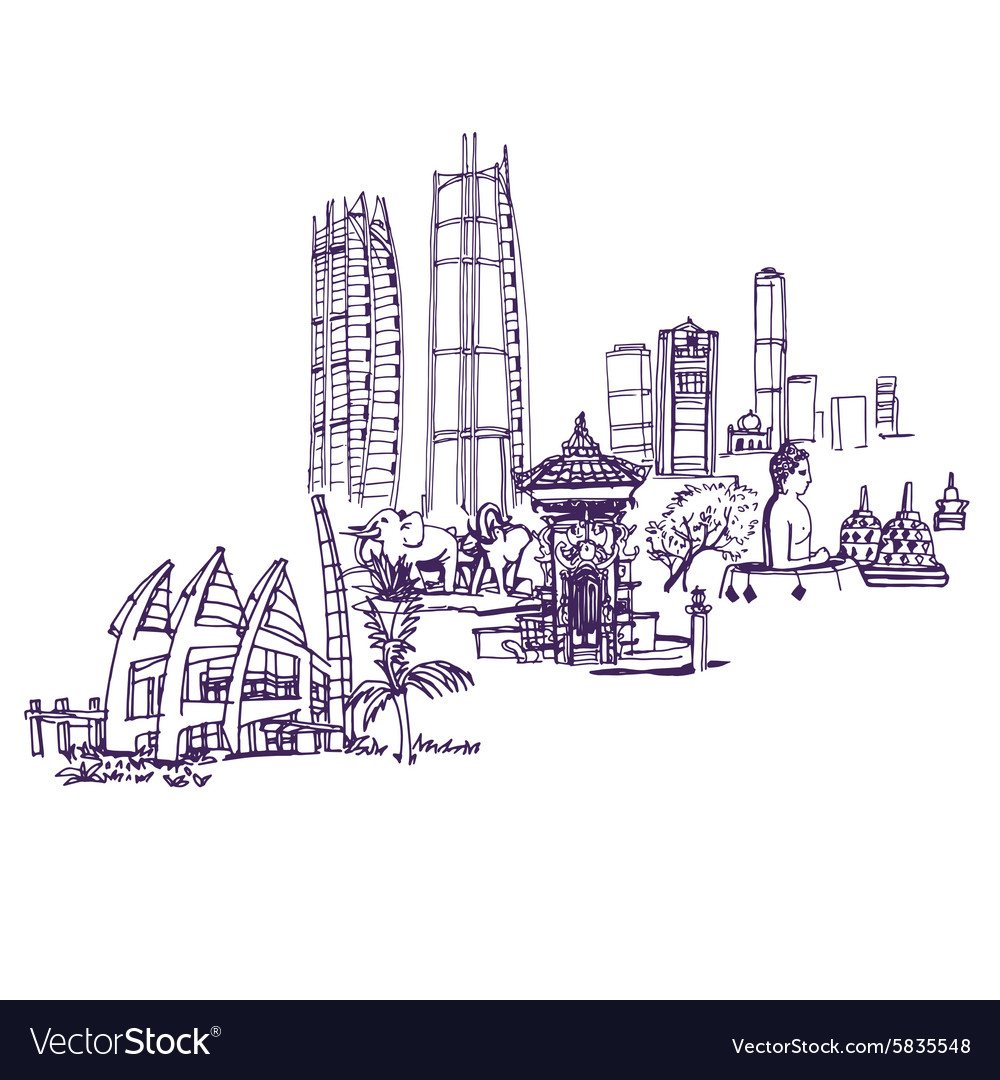 Jakarta skyline detailed silhouette