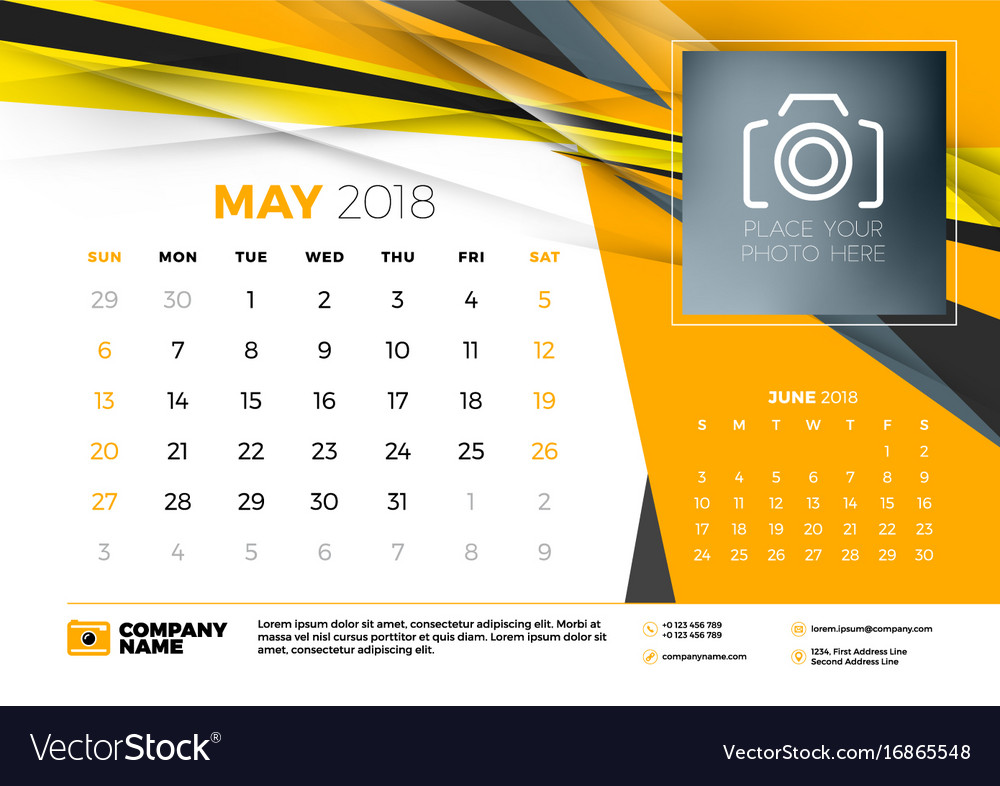 may 2018 desk calendar design template with vector image