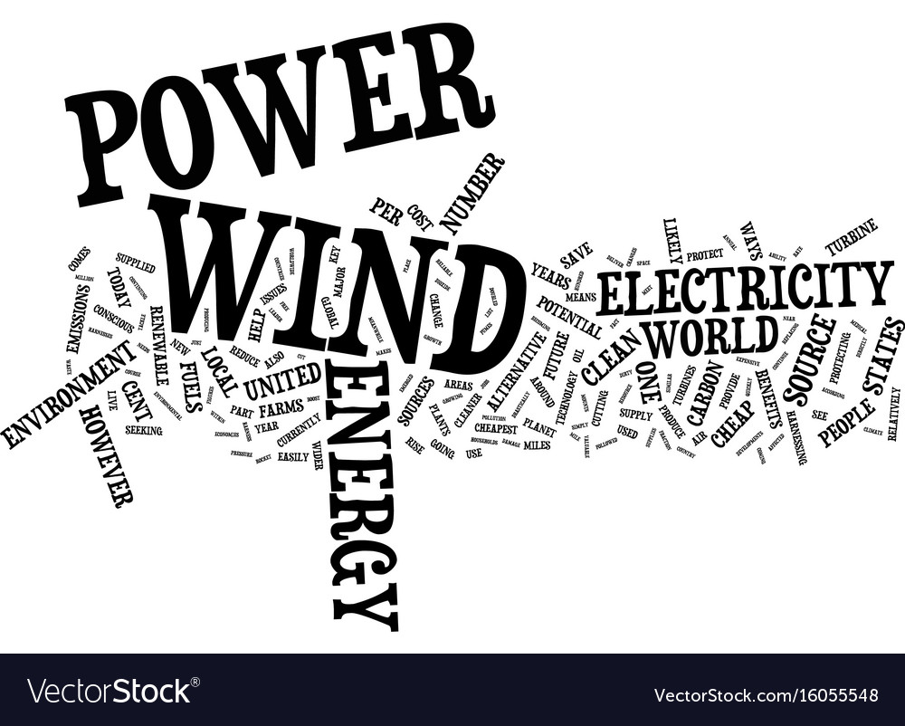 The benefits of wind power text background word