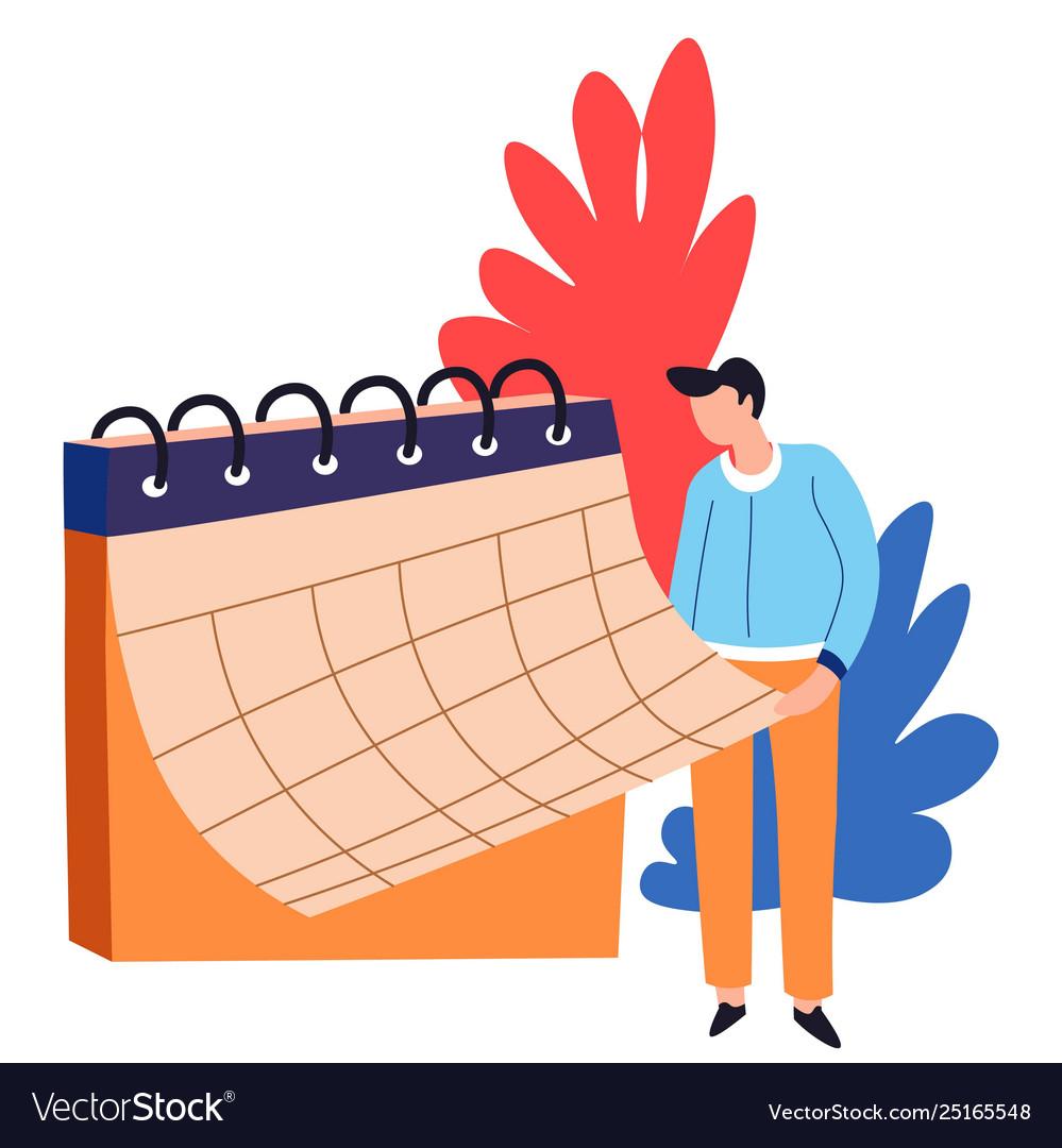 Time management organizer or calendar man business