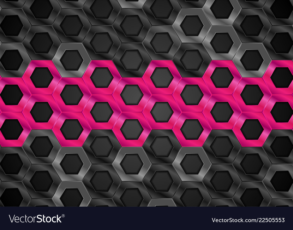 Black and pink glossy hexagons metallic texture
