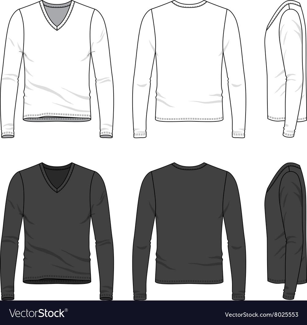Blank v-neck tee vector image