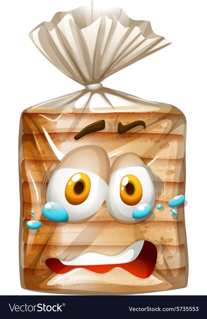 Bread package with scared face