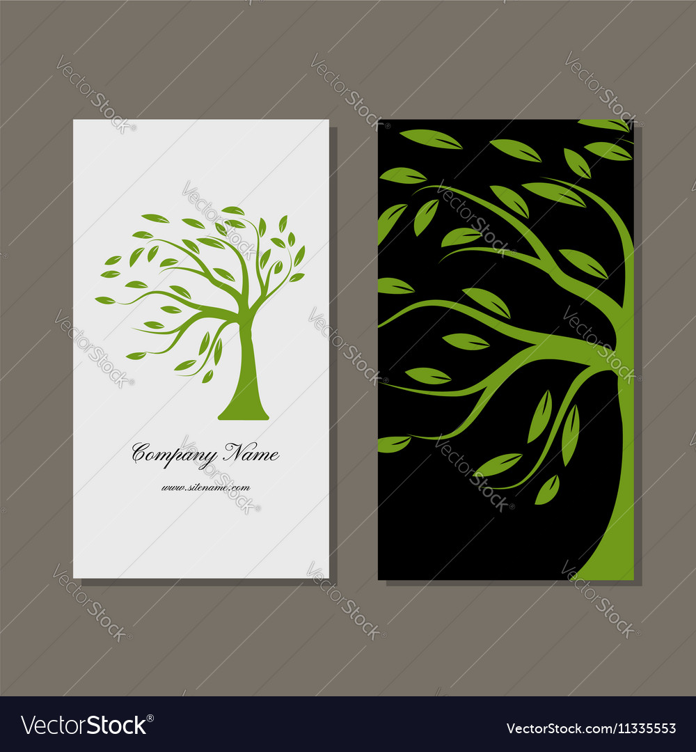Business card design green tree royalty free vector image business card design green tree vector image colourmoves