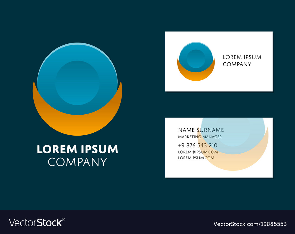 business card template with circle logo vector image - Circle Business Card Template