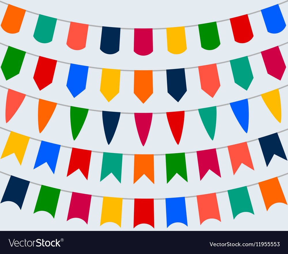 Collection of festive decorative flags for the