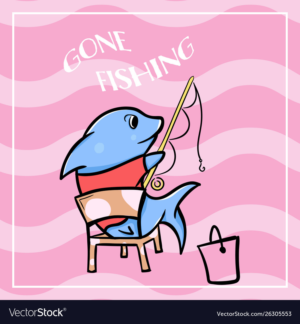 Cute shark cartoon gone fishing