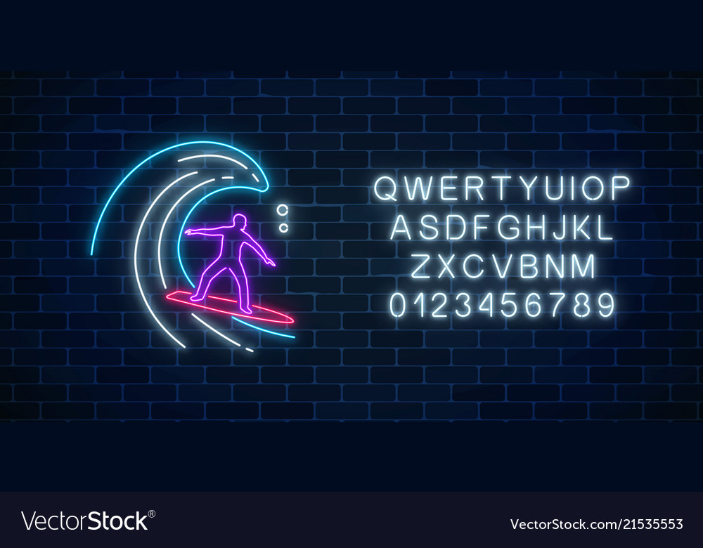 Glowing neon sign of surfer in ocean wave with