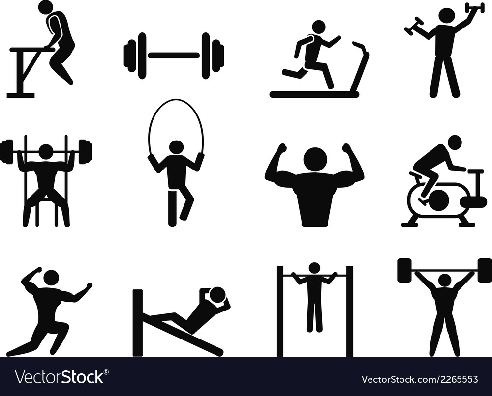 Gymnasium and Body Building icons vector image