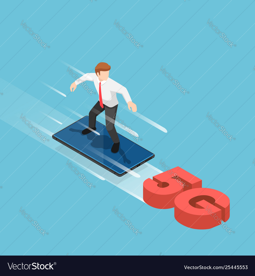 Isometric businessman use smartphone to surfing