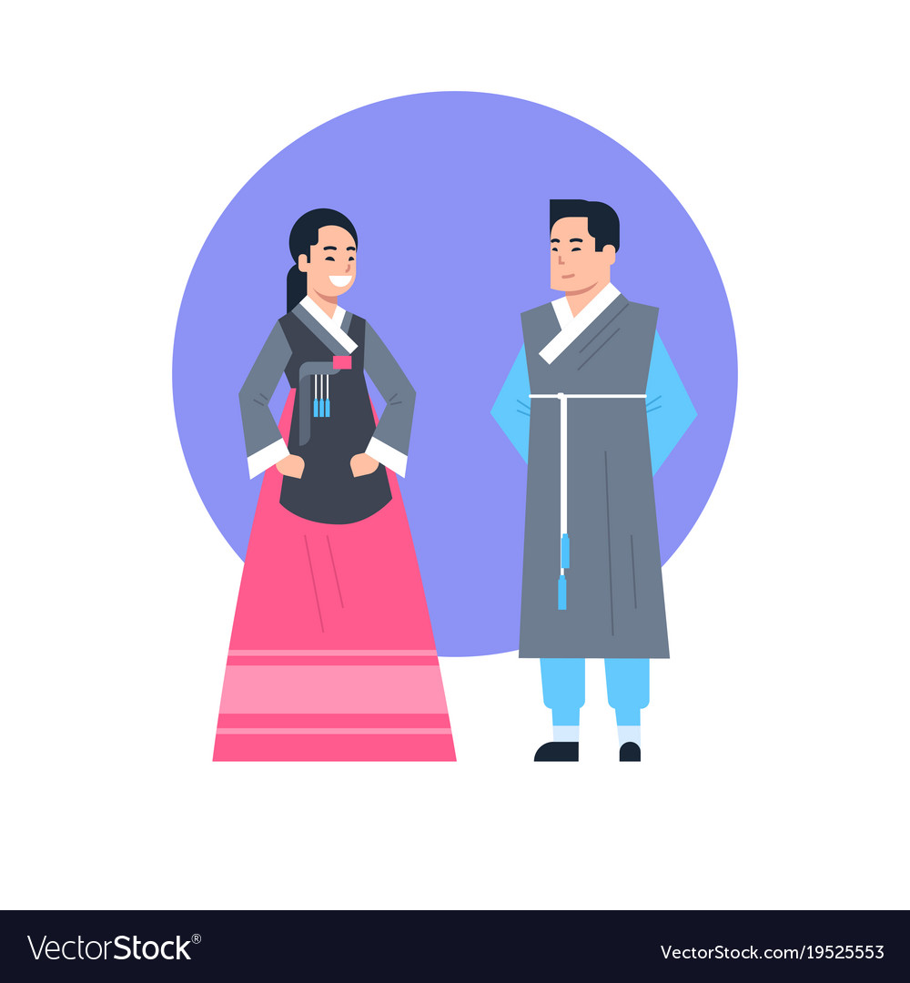 f34153ff25ce0 Korea traditional clothes asian couple wearing Vector Image