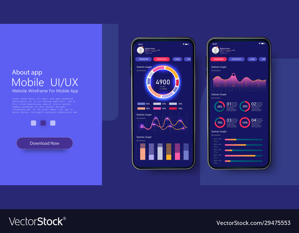 Mobile app infographic template with modern design