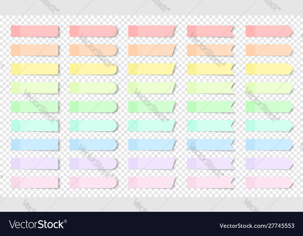Pastel colored realistic sticky notes isolated