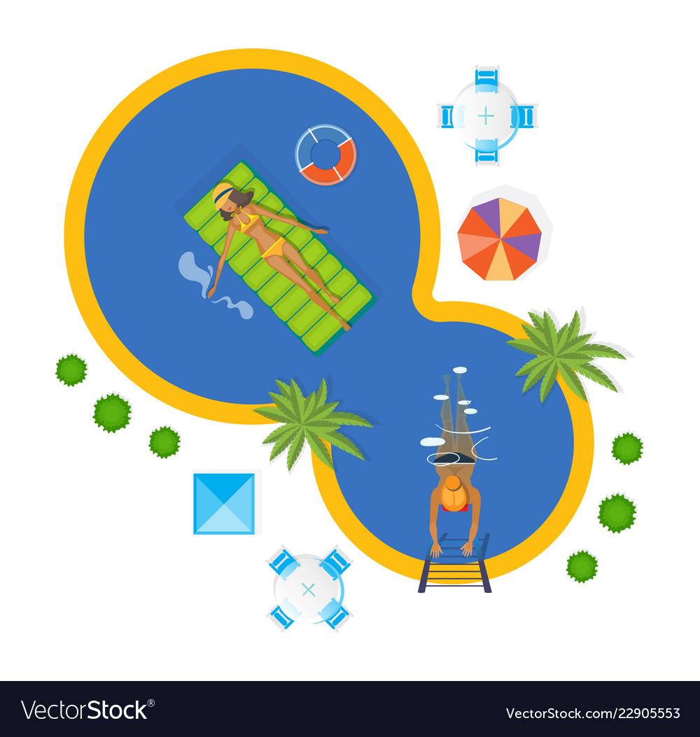 Summer invitation to event on party near pool