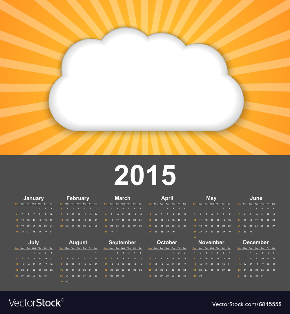 Calendar 2015 Background cloud on a sunny sky
