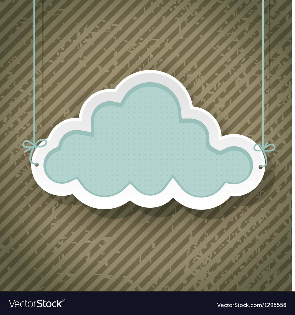 Cloud as retro sign vector image