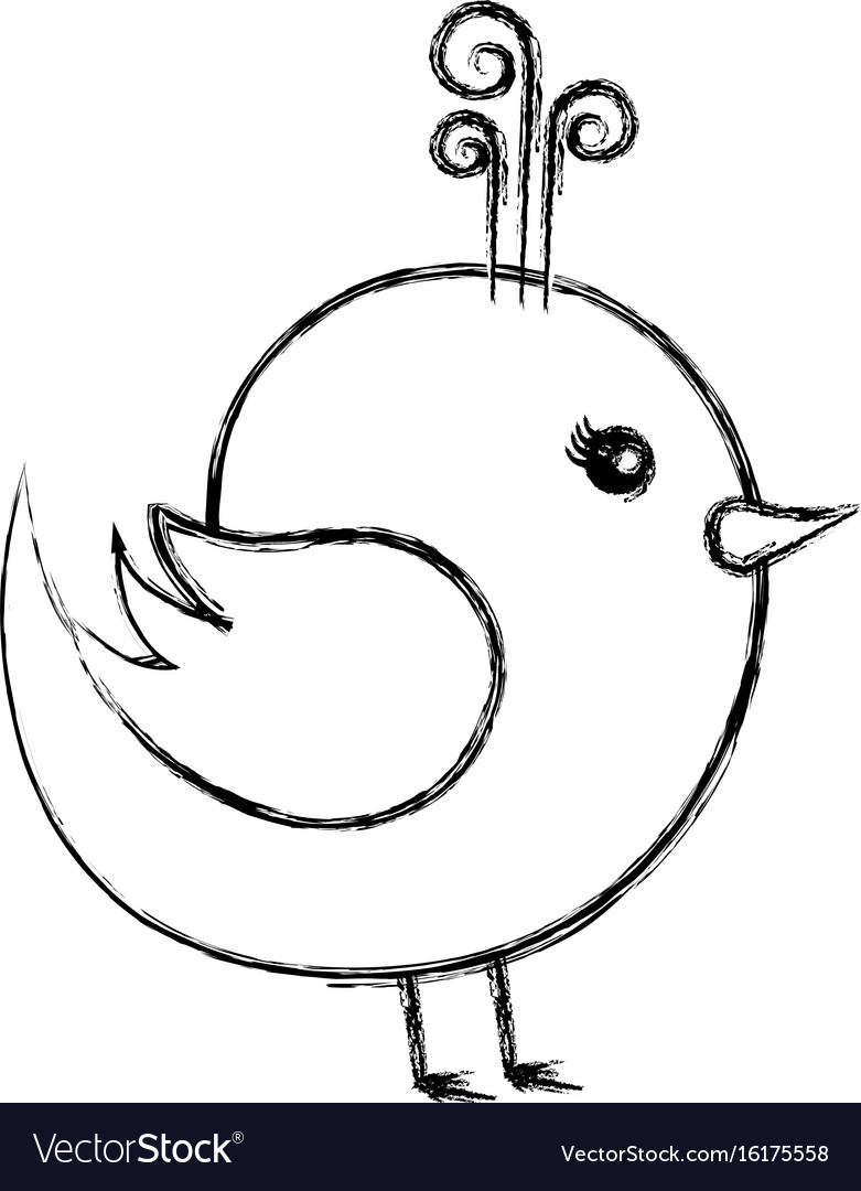 Cute bird drawing icon Royalty Free Vector Image