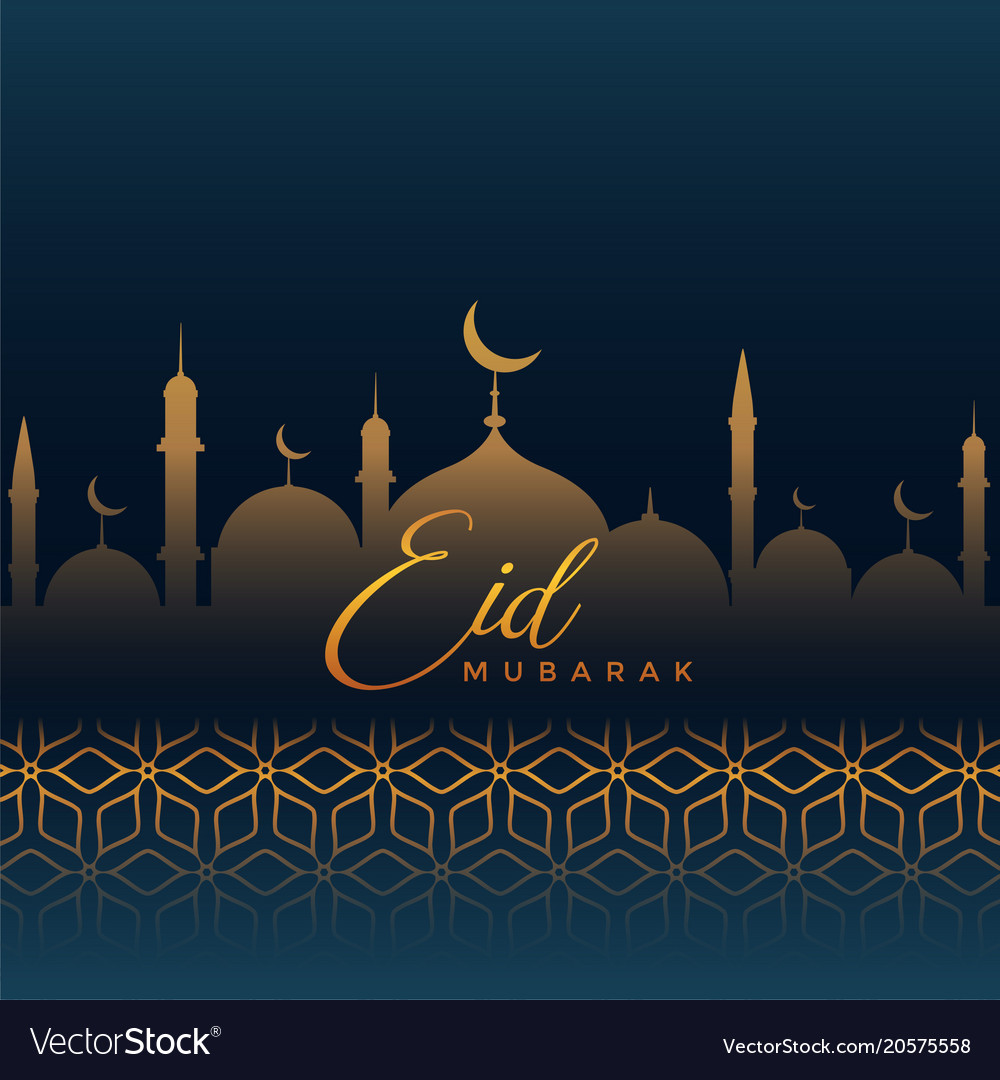 eid mubarak greeting with mosque silhouette and vector image