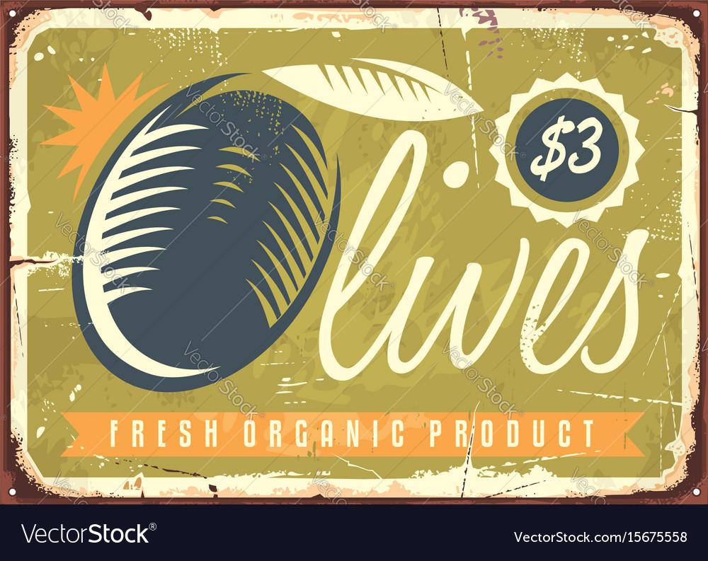Fresh organic olives retro sign