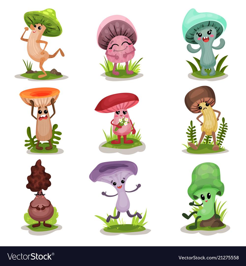 Funny mushrooms set colorful mashroom characters