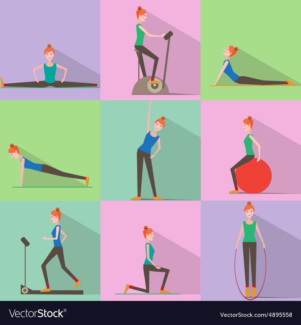 Girl Fitness Icon Active Lifestyle vector image