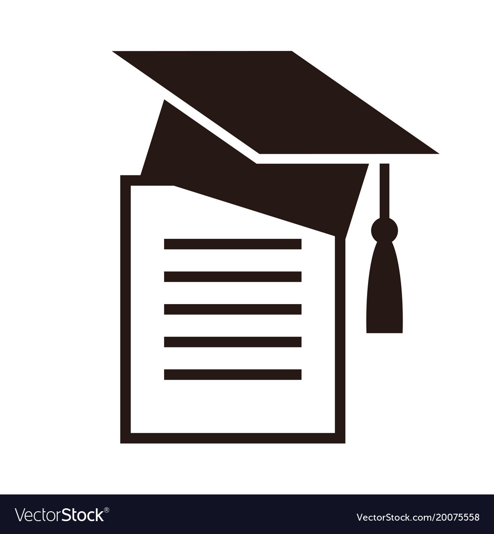 Graduation cap and diplom education symbol vector image