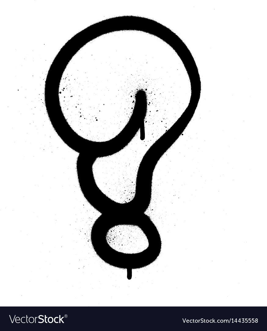 Graffiti bubble question mark in black on white