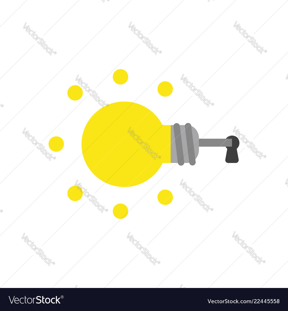 Icon concept of glowing light bulb key inside
