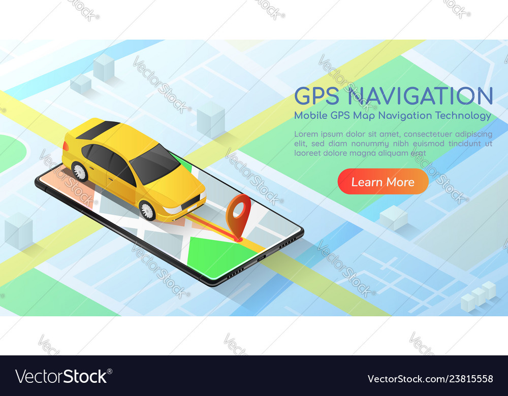 Isometric web banner car with gps map navigation Vector Image on