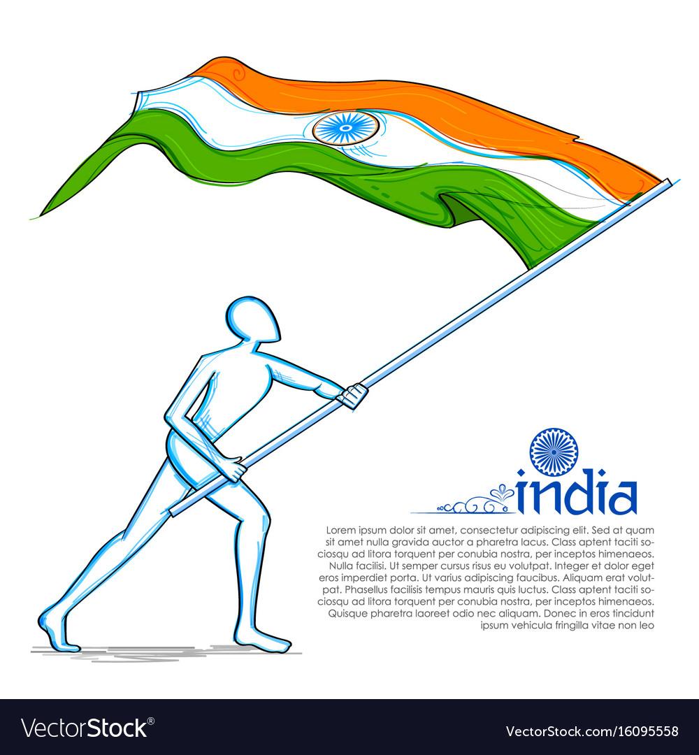 Man hoisting indian flag celebrating independence