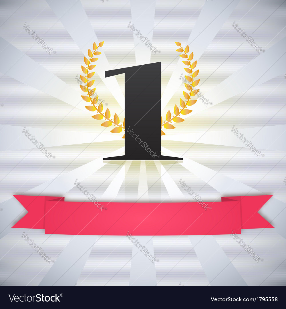 Number one scarlet ribbon laurel wreath and rays vector image